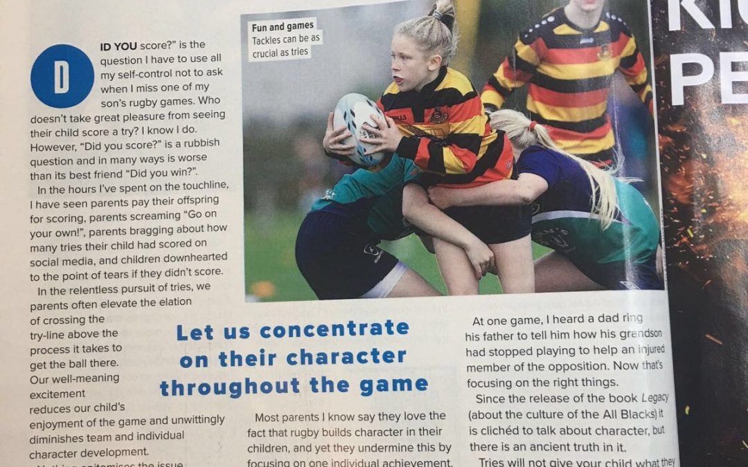 Parent's stop focusing on tries (and goals). My Rugby World article.